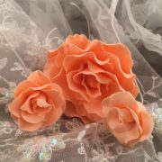 peach sugar roses on lace
