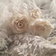 white rose on lace